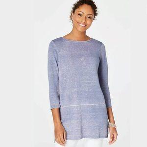Pure Jill Watercolor Tunic Sweater Top Linen Blend